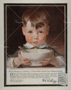 1917 Ad Kelloggs Corn Flakes Child Boy J. Vintage Ephemera, Vintage Ads, Vintage Prints, Old Advertisements, Advertising History, Vintage Food Posters, Jc Leyendecker, Santa Claus Images, American Illustration