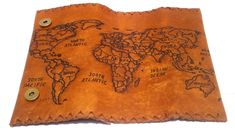 World Map Tobacco Pouch, Leather Tobacco Case, Tobacco Smokers, Men's Women's Vintage Genuine Leather smokers bag, Pyrography Handcrafted Upper Ear Earrings, Pyrography Designs, Leather Dye, Valentines Gifts For Her, Oils For Skin, Smokers, Hand Stitching, Hand Sewing, Gifts For Women
