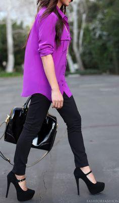 Bright oversized shirt, leggings and platform pumps.  Black makes the color pop more.