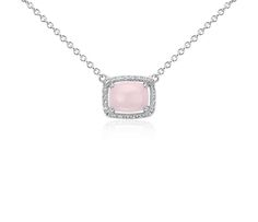 Pink Opal and White Topaz East-West Pendant in Sterling Silver   #Wedding #Jewelry #Style