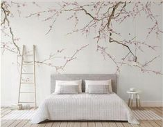 Chinoiserie Brushwork Hanging Plum Blossom Tree Wallpaper, Hand Painted Home Decor Wall Murals, Pink Flowers Wallpaper Wall Decor - CHAMBRE - Wallpaper Wall, Flower Wallpaper, Photo Wallpaper, Chinoiserie, Bedroom Wall, Bedroom Decor, Nursery Wall Murals, Tree Wall Murals, Bedroom Sets