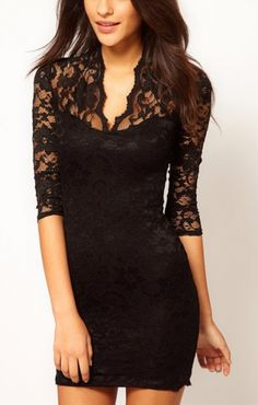 Black V-neck Three Quarter Sleeves Figure-hugging Lace Party Dress