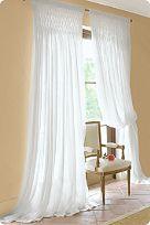 Smocked Floor Length Sheer White Curtains