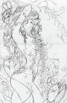 Poison Ivy (McTeigue), in Nicki Andrews's Inking work Comic Art Gallery Room Coloring Book Pages, Coloring Pages For Grown Ups, Line Art, Comic Art, Comic Books, Fantasy Art, Art Drawings, Abstract, Artwork