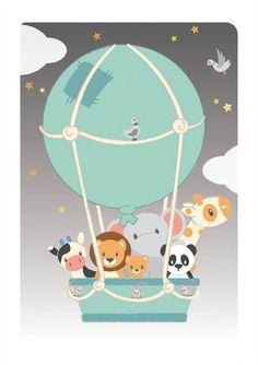 Studio Circus plakat, Elefant med unge - 21 x 30 cm Balloon Illustration, Cute Illustration, Nursery Art, Nursery Decor, Circus Poster, Safari Animals, Animal Party, Painting For Kids, Kids Decor