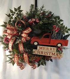 Christmas Red Truck Holiday Wreath For Front Door Evergreen