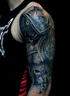 Top 50 best arm tattoos for men - bicep designs and ideas muscular triceps and biceps from hitting the gym? take it up a notch with these top 50 best arm Upper Arm Tattoos For Guys, Upper Arm Tattoos Designs, Tattoos For Guys Badass, Shoulder Cover Up Tattoos, Cool Half Sleeve Tattoos, Cool Tattoos, Tribal Tattoos, Gladiator Tattoo, Tattoo Sleeve Designs