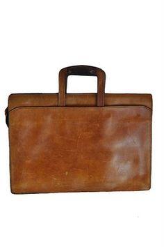goodbye heart vintage: Vintage Leather Attache Briefcase Portfolio Bag