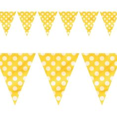 Robelli Yellow/ White Polka Dot Triangle Plastic One Sided Party Bunting Packs) One Size Yellow - tips offer Party Bunting, Birthday Party Decorations, Birthday Parties, Minion Party, Pennant Banners, Baby First Birthday, First Birthdays, Color Schemes, Triangle