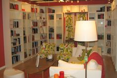 Love the wraparound bookcases.  So cozy!