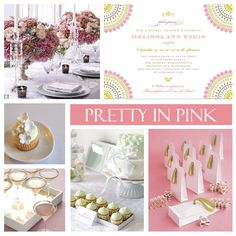 Pretty in Pink Theme party --  bridal shower, mother's day or just a very special dinner celebration, you can't go wrong with this beautiful color palette and such stunning details.