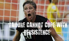 The game isn't over until the whistle blows. One of the most dramatic moments in sports, Abby Wambach's overtime header against Brazil to tie the game 2-2. The game went into double overtime, then a penalty kicks, where the USA came out on top.  #motivation #quotes