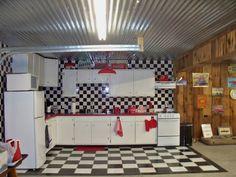 Garage kitchen in former 1861 pony barn now classic car garage Garage Door Windows, Windows And Doors, Classic Car Garage, Large Windows, Pony, Barn, Kitchen, Furniture, Home Decor