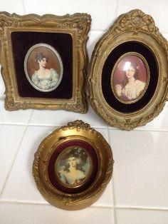 Victorian A Cameo Creation Bubble Glass Women's Pictures Set Of 3 Vintage Antiqu