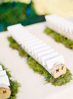 Rustic Wood Escort Cards | Mandy Mayberry Photography via Ruffled