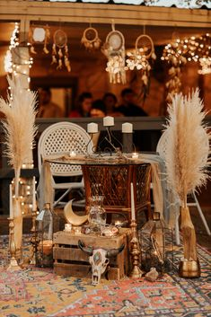 Geometric Lanterns, Wood Vases, Pampas Grass, Wicker Chairs, Gold Moon, Colorful Boho Rug  P.C. T and V Photography Wedding Blog, Our Wedding, Dream Wedding, Dream Catcher Wedding, Dream Catchers, Wedding Dreams, Wedding Reception Decorations, Wedding Venues, Eclectic Wedding