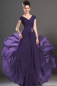 I think this might be the one!  Natural Waist Spring Misses Pleated Bodice Summer V-Neck Mother Of The Bride Dress
