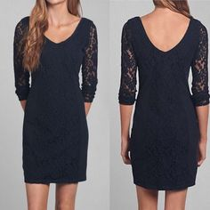 Abercrombie&Fitch dark navy mini lace dress Very pretty and flattering. Worn once, gently washed. Abercrombie & Fitch Dresses Mini