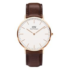 Ladies Daniel Wellington Classic St Andrews Lady rose gold-plated and brown leather strap watch. The Daniel Wellington Classic St Andrews Lady is an elegant timepiece and the epitome of perfection in engineering. This St Andrews model has a refined eggshe Daniel Wellington Classic Sheffield, Daniel Wellington Men, Black Leather Watch, Leather Watch Bands, Brown Leather, Gold Leather, Leather Case, Patek Philippe