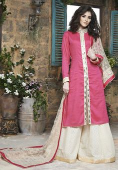 Pink and Cream Cotton Silk Party Wear Suit 7850/-