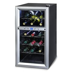 Kaloric Wine Cooler Wcl20629 Rack 18 Bottle Two Zone  Stainless Steel Including Floor Standing New Air Energy Efficientfeatures * Click on the image for additional details. (This is an affiliate link)