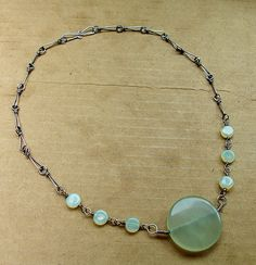 Jade pendant with glass and silver wire