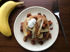 Vegan Banana Buckwheat Pancakes Recipe Breakfast and Brunch with buckwheat flour, almond milk, gluten-free baking powder, bananas