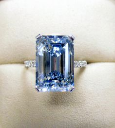 Natural Blue Color Diamond 8.90cts. Emerald Cut set in Platinum