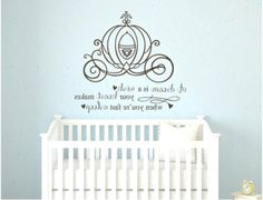 Cinderella A Dream is a Wish Your Heart Quote Vinyl Wall Decal Girl Room Baby Nursery Princess on Et Baby Room Themes, Baby Girl Nursery Themes, Room Baby, Nursery Ideas, Nursery Quotes, Babies Nursery, Baby Rooms, Nursery Room, Girl Rooms