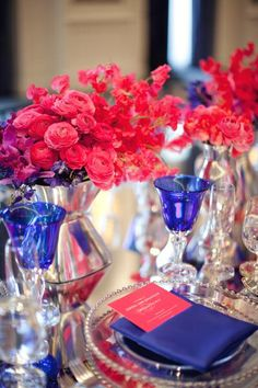 Coral and royal blue- these would be great for an (almost) 4th of July wedding without going with red, white and blue.