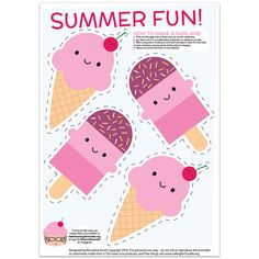 Free Summer Ice Cream Treats Printable Garland - Asking For Trouble - Awana ideas - Ice Cream Theme, Ice Cream Party, Ice Cream Birthday Cake, Ice Cream Template, Ice Cream Crafts, Ice Cream Decorations, Holiday Decorations, Summer Ice Cream, Ice Cream Social