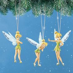 Tinker Bell attitude ornaments are a set of three hanging holiday ornaments with varying attitude statements printed on her wings.