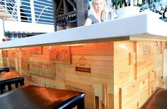 Extreme Makeover bar covered in wine crate panels by Nate Galui Wine In The Woods, Crate Bar, Wooden Wine Crates, Extreme Makeover Home Edition, Little Cabin, Wine Cellar, House, Discount Wine, Cheap Wine