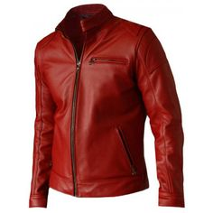 This classy and Elegant Design Moto Racer Men's Red Leather Jacket surely is an attention magnet. Men's Red Leather Biker Jacket comes with a front YKK Zipper Closure along with a chest and two side pockets. Custom Leather Jackets, Vintage Leather Jacket, Lambskin Leather Jacket, Biker Leather, Leather Men, Distressed Leather, Cowhide Leather, Red Leather Jacket Men, Studded Jacket