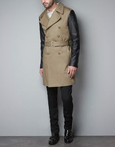 TRENCH COAT WITH FAUX LEATHER SLEEVES - Man - New this week - ZARA United States