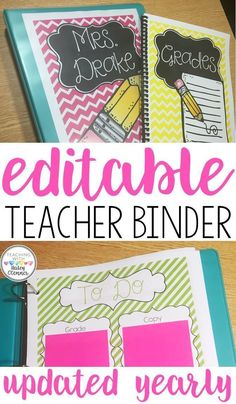 Are you struggling to keep your lesson plans, parent forms, and documentation organized? This teacher binder is completely EDITABLE to suit your needs and includes an updated calendar each year! Download and type your information in to make this binder your very own! Pages include yearly calendar, parent contacts, intervention logs, long term planning, student information, and so much more. Over 400 pages to customize your ideal teacher binder!