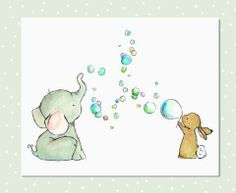 Bubbles anyone? - art print from an original watercolor, gouache, and acrylic painting by Kit Chase. - archival matte paper and ink - horizontal print - ships worldwide from the U.S. - watermark will