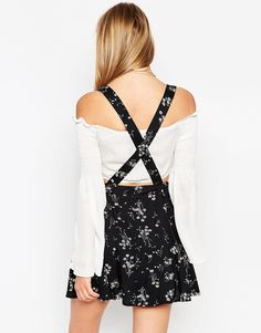 Image 2 of ASOS Skater Skirt With Suspenders In Floral Print