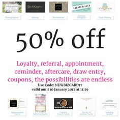 50% Off All Business Cards Use Code: NEWBIZCARD17   valid until 10 January 2017 at 11:59 Create #referral cards, #business cards, #aftercare cards, #loyalty cards,  #draw cards, #reminder cards and much more. #spa #salon #nails #lashes #hair #makeup