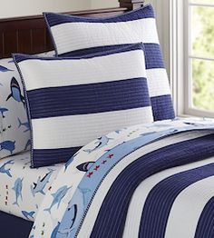 Blue and white striped kids bed set