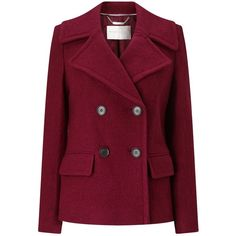 Windsmoor Boiled Wool Double Breasted Shirt Coat , Bright Red ($59) ❤ liked on Polyvore featuring outerwear, coats, bright red, long sleeve coat, red coat, purple coats, plus size double breasted coat and short slip
