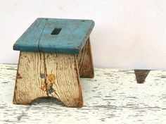 Vintage Childs Wooden Stool Rustic Chippy Distressed Duck Decal - Home Decor