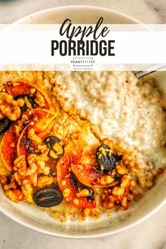 A gorgeous bowl of creamy porridge with caramelised apples, sliced grapes and crumbled walnuts. #porridge #oatmeal #applerecipes #appleporridge #healthy #easy #easybreakfasts