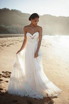 Casual Robes de mariée plage pour rester au frais