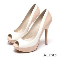 ALDO 優雅法式雙色前高防水台露趾細高跟鞋~氣質粉裸 - Yahoo!奇摩購物中心