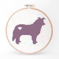 Border Collie Silhouette Cross Stitch Pattern by kattuna on Etsy