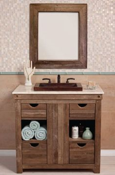 "All Bathroom Vanities & Cabinets - All Traditional Vanities & Cabinets - 36"" - 47"" Wide Vanities - 36"" Native Trails Chardonnay Vanity Base with Optional Sink Tops - Handmade with Reclaimed Woods VNW361 - VNW361"