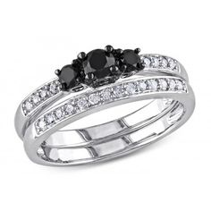1/2 CT TDW Black and White Diamond Sterling Silver Bridal Ring Set