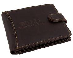 Užsegama rudos spalvos piniginė Wild | Odinės vyriskos pinigines Wild puikiai tinka nuolat naujų nuotykių ieškančiam vyrui.