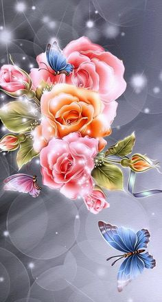 This is a flower is from a wallpaper Beautiful Flowers Wallpapers, Beautiful Butterflies, Beautiful Roses, Pretty Flowers, Cute Wallpapers, Pink Flowers, Purple Roses, Flower Images, Flower Pictures